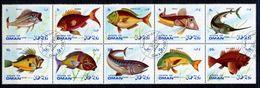 (lot 4) Oman Ob Série De 10 Tbres - Poissons - - Oman