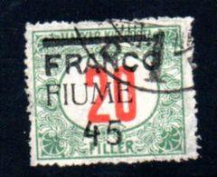 Fiume  / N 30 / 45 Sur 20 Fi /  Oblitéré - 8. WW I Occupation