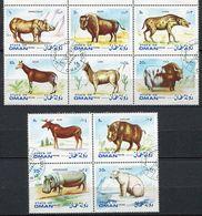 (lot 6 Bis) Oman Ob - Série De 10 Tbres - Animaux Sauvages : Bison, Yack, Rhinocéros, Ours Etc… - Oman