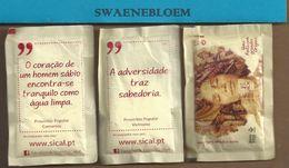 Suikerzakje.- Portugal 3 X Sachet De Sucre. SICAL O CAFÉ ESTÁ NA ORIGEM. Na Origem De UM BOM CAFÉ E UM PROVERBIO. LISBOA - Sugars