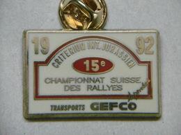 Pin's - Critérium Jurassien Championnat SUISSE Des RALLYES - Sponsor Transports GEFCO - Rallye
