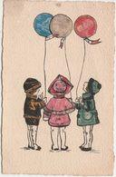Carte Timbres Découpés Etranger / Jeunes Enfants Aux Ballons Tricolores / Patriotisme / Fanions Bleu Blanc Rouge - Postmark Collection (Covers)