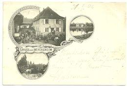 67  Cpa Gruss Aus Weyersheim Multivues Restaurant A L Ancre Weinum Belle Animation Zorn 1904 - France