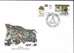 2000 Lettland  Latvija  Lettonie  Mi.520 FDC    Eishockey-Weltmeisterschaft - Letonia