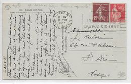 ESPERANTO - 1937 - CARTE Avec MECA ESPERANTISTE De PARIS => ST DIE DES VOSGES - Esperanto