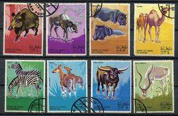 (lot 31) Oman Ob Série De 7 Tbres - Animaux Sauvages :Sanglier, Elan, Hipopotame, Chameau (manque Un Coin) ,zèbres, Buff - Oman