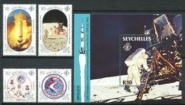 234 SEYCHELLES 1989 - Yvert 683/86 BF 32 - Apollo Espace Astronaute Lune - Neuf ** (MNH) Sans Trace De Charniere - Seychelles (1976-...)