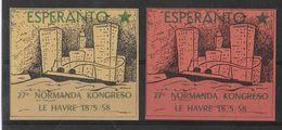 ESPERANTO - 1958 - VIGNETTES Du CONGRES De NORMANDIE Au HAVRE NEUVES AVEC GOMME ** - Esperanto