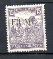 Fiume  / N 23 / 15 Fi Violet /  NEUF Avec Charnière - 8. WW I Occupation