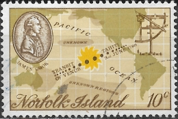 NORFOLK ISLAND 1969 Captain Cook Bicentenary - 10c Captain Cook, Quadrant And Chart Of Pacific Ocean FU - Norfolkinsel