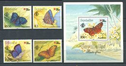 234 SEYCHELLES 1991 - Yvert 743/46 BF 37 - Papillon - Neuf ** (MNH) Sans Trace De Charniere - Seychelles (1976-...)