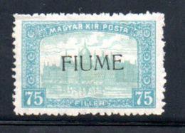 Fiume  / N 15 / 75 Fi Bleu Clair  / NEUF Avec Charnière - 8. WW I Occupation