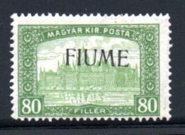 Fiume  / N 16 / 80 Filler Vert / NEUF Avec Charnière - 8. WW I Occupation