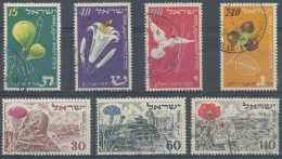 [807789] O/Used-Israël 1952, N° 54/56 + 58/61, Fleurs Diverses, 2 SC - Used Stamps (without Tabs)