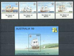 234 SEYCHELLES 1999 - Yvert 834/37 BF 41 - Bateau Voilier - Neuf ** (MNH) Sans Trace De Charniere - Seychelles (1976-...)