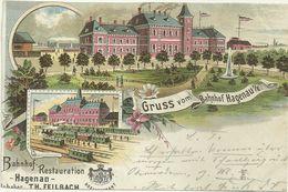 67 Cpa Gruss Haguenau Gare Restaurant Feilbach CARTE COUPEE 1898 - Haguenau