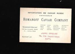 CARTE DE VISITE POUR DE L IMPORTATION DE CAVIAR RUSSE... A PARIS - Visiting Cards