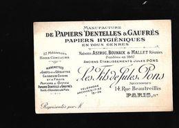 CARTE DE VISITE POUR UNE MANUFACTURE DE DENTELLES...... A PARIS - Visiting Cards