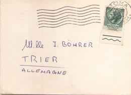 ITALIE ENVELOPPE DE 1954 ?? DE ROME POUR TRIER TIMBRE AVEC BORD DE FEUILLE - 6. 1946-.. Repubblica