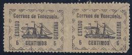 VENEZUELA 1903 - Yvert #87 Pareja Sin Dentar En Medio - VFU - Venezuela