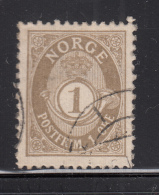 Norway 1893-1908 Used Scott #47a 1o Post Horn - Norvège