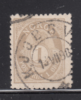 Norway 1893-1908 Used Scott #47a 1o Post Horn Cancel: Kjopsvik? - Norvège