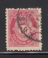 Norway 1893-1908 Used Scott #51a 10o Post Horn Variety: Dot Before N, Facit Perf Error - Norvège