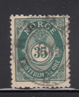 Norway 1893-1908 Used Scott #56a 35o Post Horn Facit Perf Error - Norvège