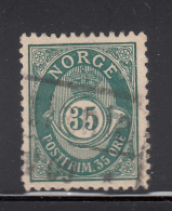 Norway 1893-1908 Used Scott #56a 35o Post Horn Variety: Dent Top Of Large 3 - Norvège