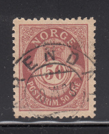 Norway 1893-1908 Used Scott #57a 50o Post Horn - Oblitérés