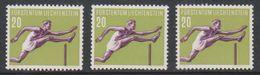 Liechtenstein 1956 Sport / Hürdenlauf 20Rp 3x ** Mnh (stripe In Gum) (39552G) - Liechtenstein
