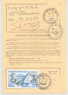 Ordre De Réexpédition Temporaire - Cachet  6/7/1973 SAINTE GENEVIEVE DES BOIS - PA 44 Concorde, Mermoz Et St Exupéry - Postdokumente