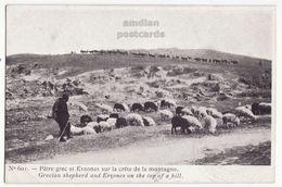 GREECE GREEK SHEPHERD & EVZONES SOLDIERS ON TOP OF A HILL C1916 Vintage Postcard - Greece