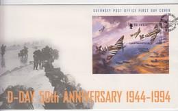 Guernsey FDC 1994 D Day Anniversary Mint Sheet - Guernsey