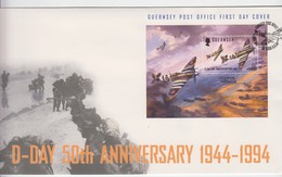Guernsey FDC 1994 D Day Anniversary Mint Sheet - Guernesey