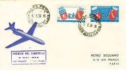 ITALIA - PRIMO VOLO CARAVELLE AIR FRANCE - ROMA PARIGI ANNO 1959 - 1946-60: Marcophilia
