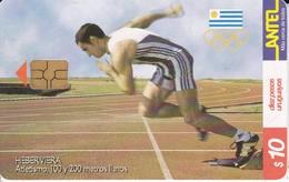 Nº 133 TARJETA DE URUGUAY DE ANTEL DE ATLETISMO  (CHIP G4 NEGRO) - Uruguay