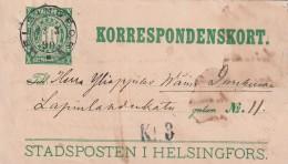FINLANDE - ENTIER POSTAL - Helsingfors Du 12/03/1890 - Finland
