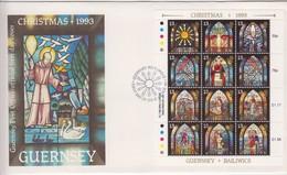 Guernsey FDC 1993 Christmas Sheet Of 12 - Guernsey