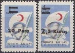 1956 TURKEY SURCHARGED TURKISH RED CRESCENT STAMPS MNH ** - 1921-... République