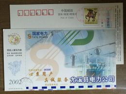 Transmission Line,Transformer,China 2002 State Power Youxi Electric Power Supply Advert Pre-stamped Card - Electricité