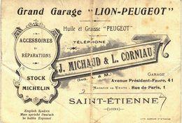 Carte Postale Ancienne De SAINT ETIENNE - Grand Garage LION - PEUGEOT - Saint Etienne