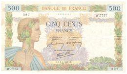Billet  >  France > 500  Francs 1943 Une Petite Coupure En Bas Petit Trous D épingles - 500 F 1940-1944 ''La Paix''