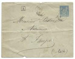 ENVELOPPE SAGE 15c   / 1885 / POUR JAUJAC ARDECHE - Poststempel (Briefe)