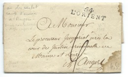 MP LORIENT POUR ANGERS  / CACHET ROUGE D'ARRIVEE ANGERS AU VERSO / 1809 - Marcophilie (Lettres)