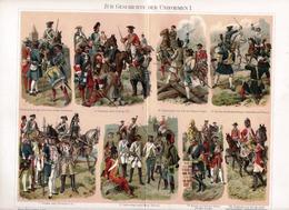 CHROMO-LITHOGRAPHIE AUS MEYER'S LEXIKON 1895 MILITÄR GESCHICHTE DER UNIFORMEN - Lithographies