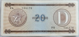 Billete Cuba. 20 Pesos. Serie D. 1985. Certificado De Divisa. Banco Nacional De Cuba. Sin Circular - Cuba