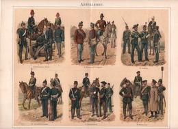 CHROMO-LITHOGRAPHIE AUS MEYER'S LEXIKON 1895 MILITÄR ARTILLERIE - Lithographies