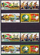 2017-0482 Burundi 1974 100 Years Of UPU Complete Set Of 8 Pairs Mi 1069-1084 Used O - Post