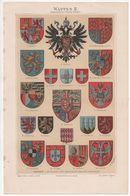 CHROMO-LITHOGRAPHIE AUS MEYER'S LEXIKON 1895  HERALDIK  WAPPEN - Lithographies